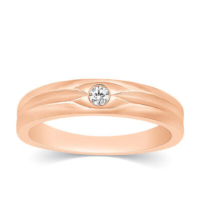 Mens 10k Rose Gold Diamond Channel Set Solitaire Engagement Wedding Band Ring