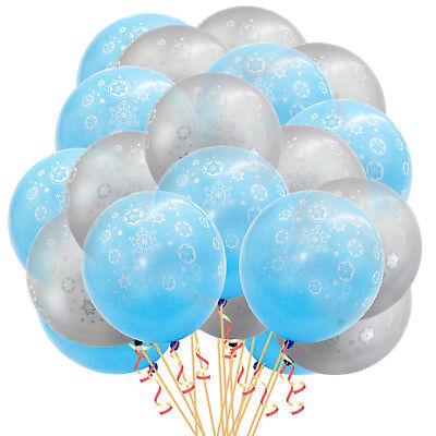 20 Winter Luftballons Schneeflocken Weihnachtsdeko Deko Ballons Grau Blau