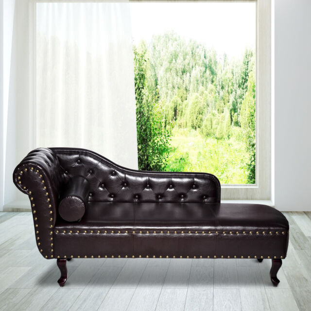 Hom Deluxe Vintage Style Faux Leather Chaise Longue Dark