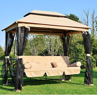 Luxus Gartenschaukel Hollywoodschaukel Doppeldach Liegefunktion Moskitonetz