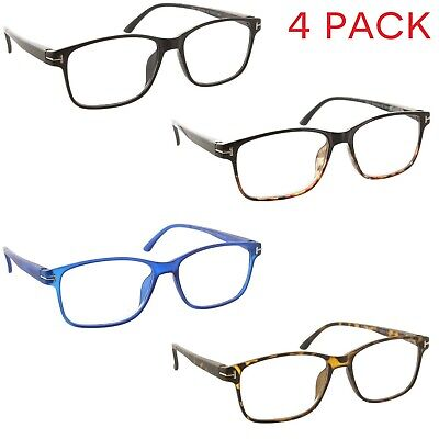 4 Pack Reading Glasses Square Frame Trendy Readers for Men and (Trendy Glasses For Men)