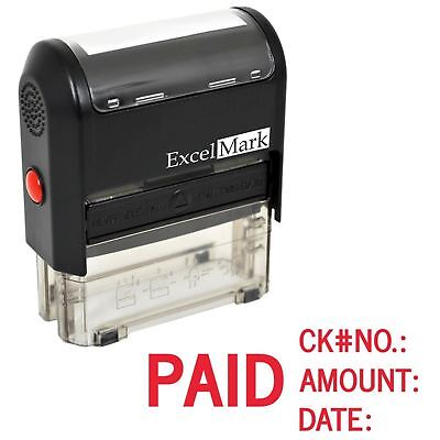 Paid Check No Amount Date - Excelmark Self Inking Rubber Stamp A1848 Red Ink