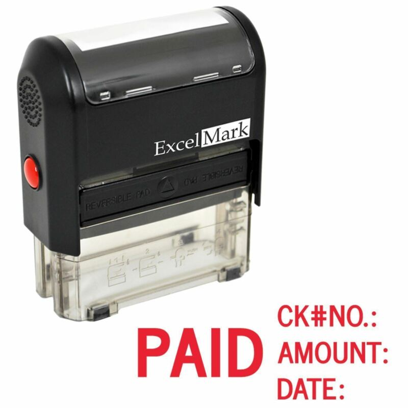 Paid Check No Amount Date - ExcelMark Self Inking Rubber Stamp A1848 | Red Ink