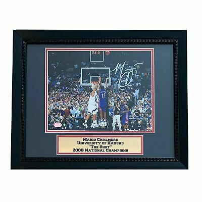 Mario Chalmers Autographed Kansas Jayhawks THE SHOT Framed 8x10 Basketball Photo