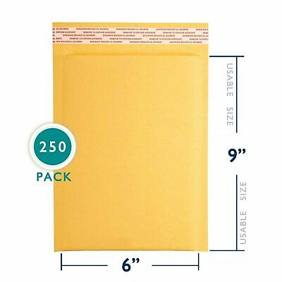 250 6x10 Kraft Bubble Mailers Paper Padded Envelopes Shipping Case 6x10 6x9 Us