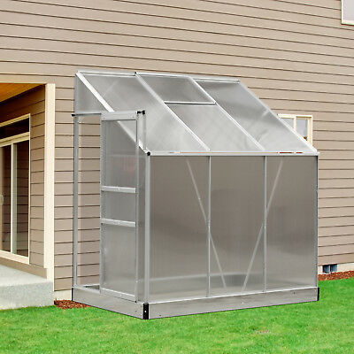 6' x 4' Polycarbonate Lean to Greenhouse Aluminum Cold frame Sun Room Grow Plant for sale  Greenford