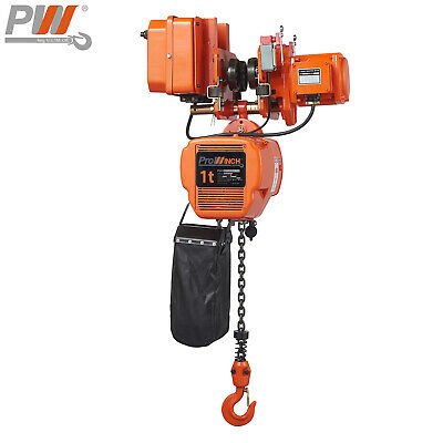 Prowinch 1 Ton Electric Chain Hoist Power Trolley 20 Ft. Fec G80 Japan Chain ...