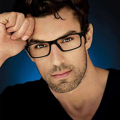 Clear Lens Square Men Eyeglasses Black Brown Plastic Frame Retro Fashion (Lens For Men)