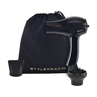 Stylecraft Peewee1200, Dual Voltage Folding Travel Dryer, Black, Best of (Best Travel Hair Dryer Dual Voltage)