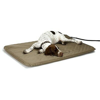 Heated Dog Bed Pet Large Outdoor Soft Pad Mat Luxury Electric Home Warming Tan