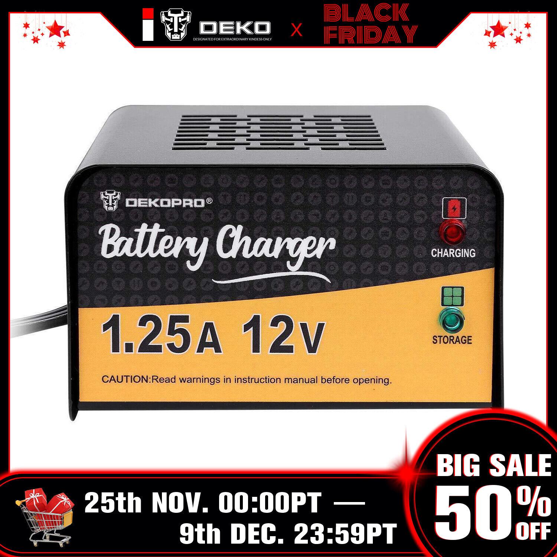 DEKO 12V 1.25 Amp Smart Battery Maintainer Charger for Motor