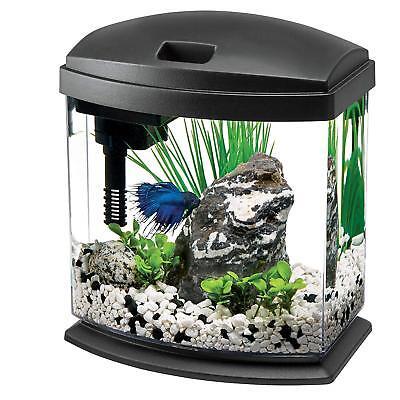 Aquarium Tank Kits LED Lighting Fish Size 1 Gallon Aqueon Starter Decor