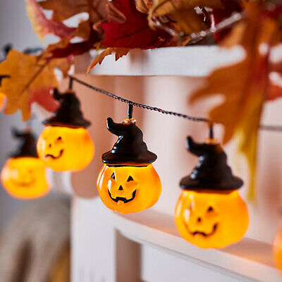 Battery Operated LED Pumpkin Hat Halloween Indoor String Lights
