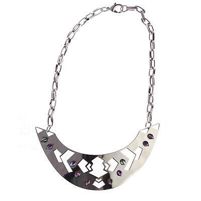 JOOMI LIM Modern Tribe Silver Cut-out Bib Necklace w/ Rainbow Spikes NEW