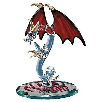 Glass Baron Handcrafted Dragon Figurine Red Wings Accented with Swarovski Crysta