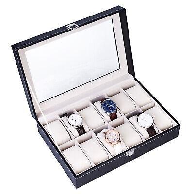 12 Slot Watch Winders Box Leather Display Case Glass Top Jewelry Storage Black
