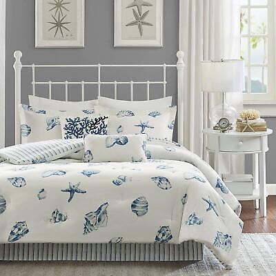 Ivory Queen Size Comforter (Harbor House Beach House Queen Size Comforter Set - Blue, Ivory, Seashells, 4 pc )