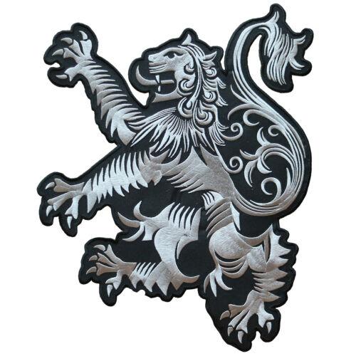 "LARGE LION RAMPANT SCOTLAND CREST SCOTTISH HERITAGE EMBROIDERED PATCH SIZE 13""H"