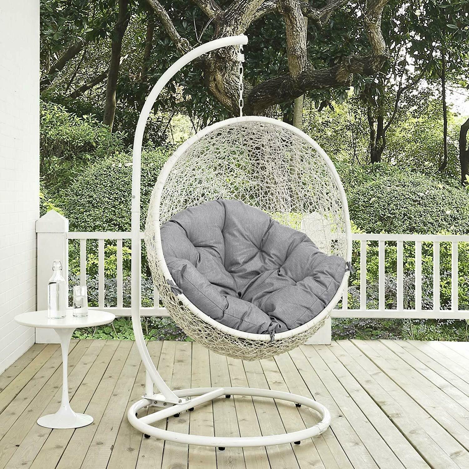 Modway Hide Outdoor Patio Swing Chair With Stand in White Gr