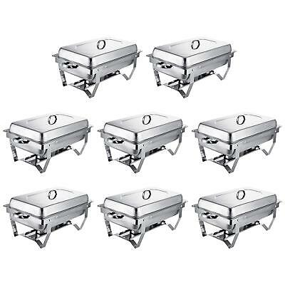 Buffet Chafer Dishes 8 Pack Full Size Catering 8 Qt. Pan Warmer Kitchen Lid Tray