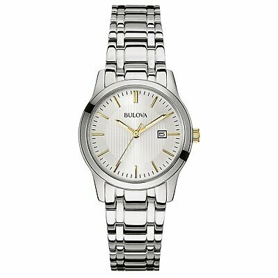 Bulova Women's Quartz Date Calendar Silver-Tone Band 30mm Watch 98M121