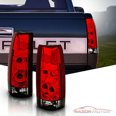 1988-1999 Euro Red Smoke Tail Lights For GM Chevy Fullsize Silverado Tahoe Yukon