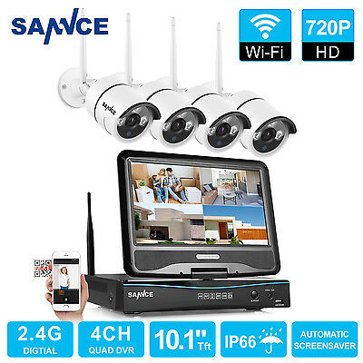 4CH 720P Funk Video Überwachungskamera set HD WLAN Monitor wifi IP Kamera kit DE
