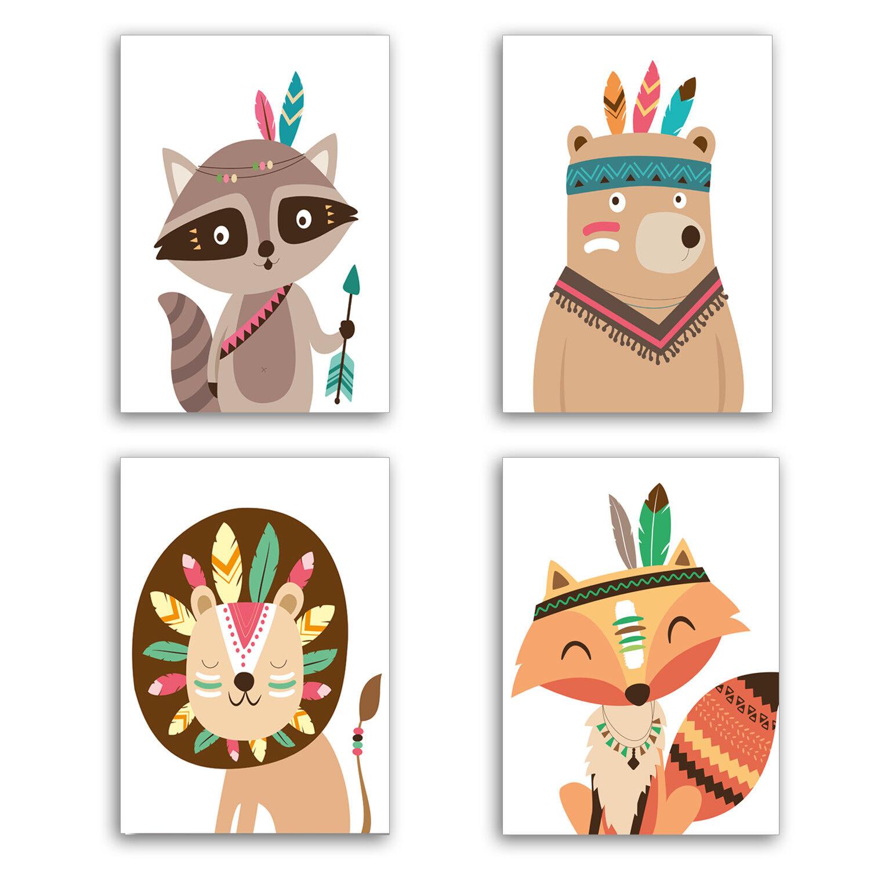 KAVARO Poster für Kinderzimmer & Babyzimmer Deko Bilder (DIN A4 Set)