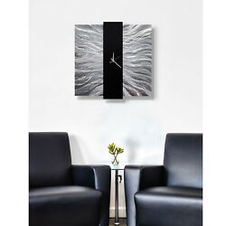 Large Silver Modern Wall Clock, Contemporary Metal Wall Art by Jon Allen