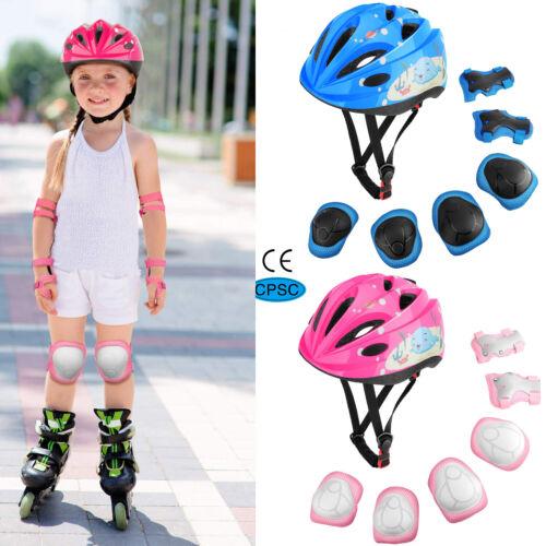Kids Boys Girls Safety Roller Skating Bike Helmet Knee Elbow