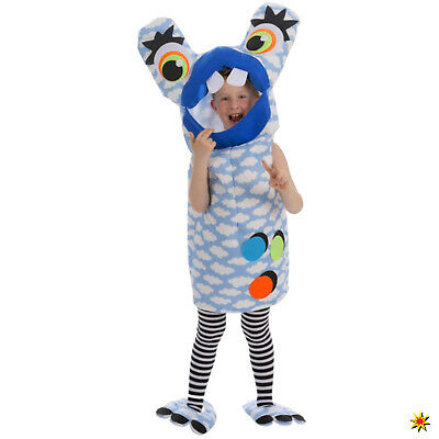 Kinder Kostüm Monster Glubschauge blau Onesize Fasching Karneval