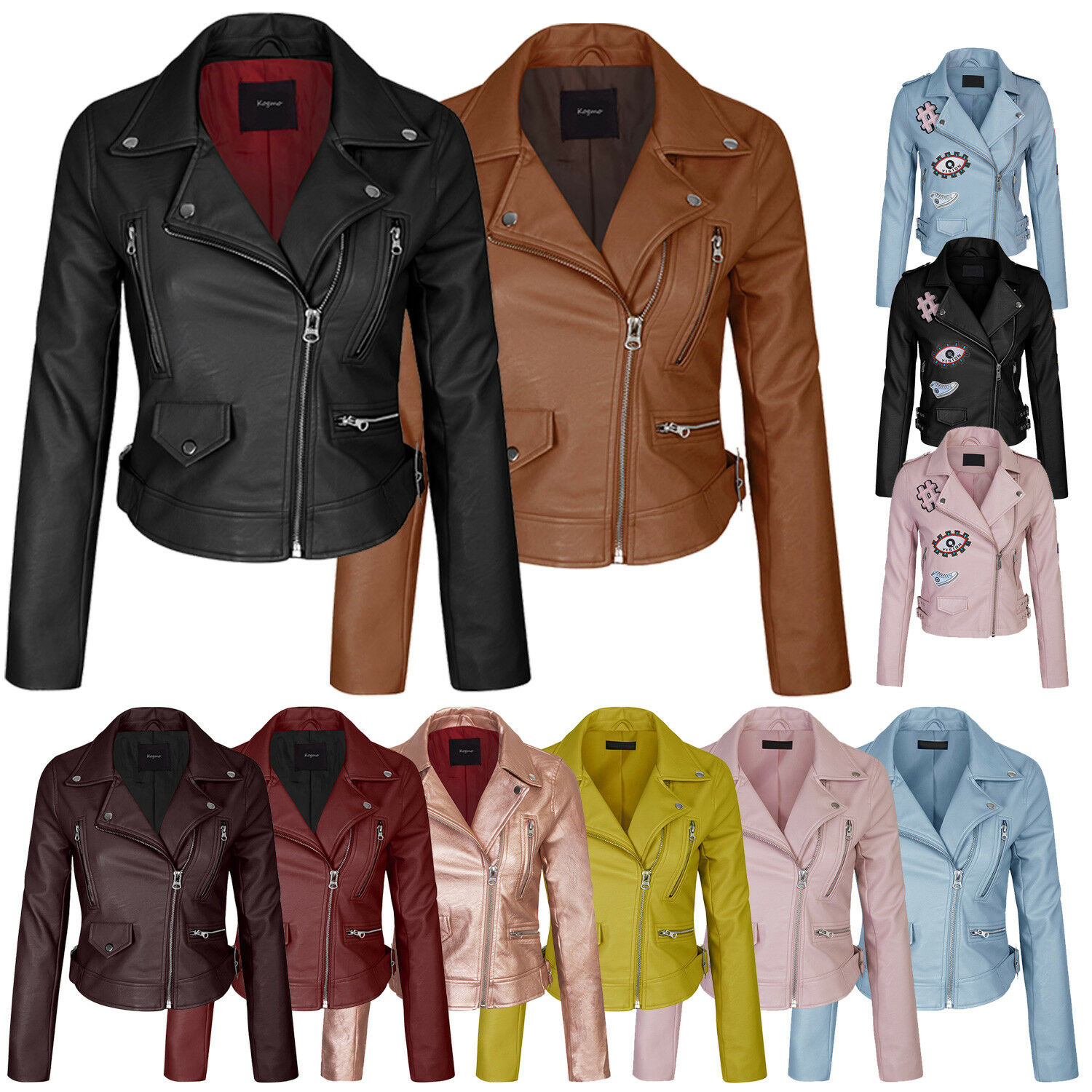 8c27062217ee Women s Faux Leather Zip Up Everyday Bomber Jacket With Patch S,M,L фото
