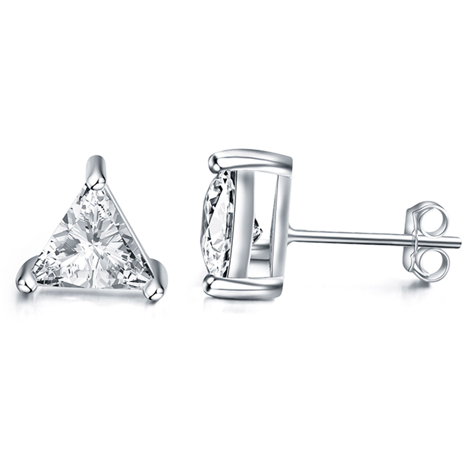 d04280418 Details about 925 Sterling Silver 3 Prong Triangle Cubic Zirconia Stud  Earring 14k Gold Plated