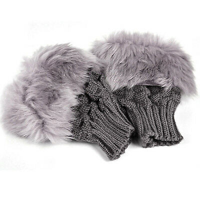 Lady Shaggy Faux Fur Knit Fluffy Hands Boot Covers Gloves -Dark gray](Faux Fur Boot Covers)