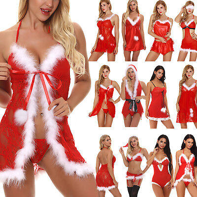 Women Sexy Lingerie Christmas Costume Dress Underwear Clubwear Babydoll Nighwear