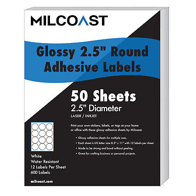 Milcoast Glossy Adhesive 2.5 Round Circle Labels - 600 Labels 50 Sheets