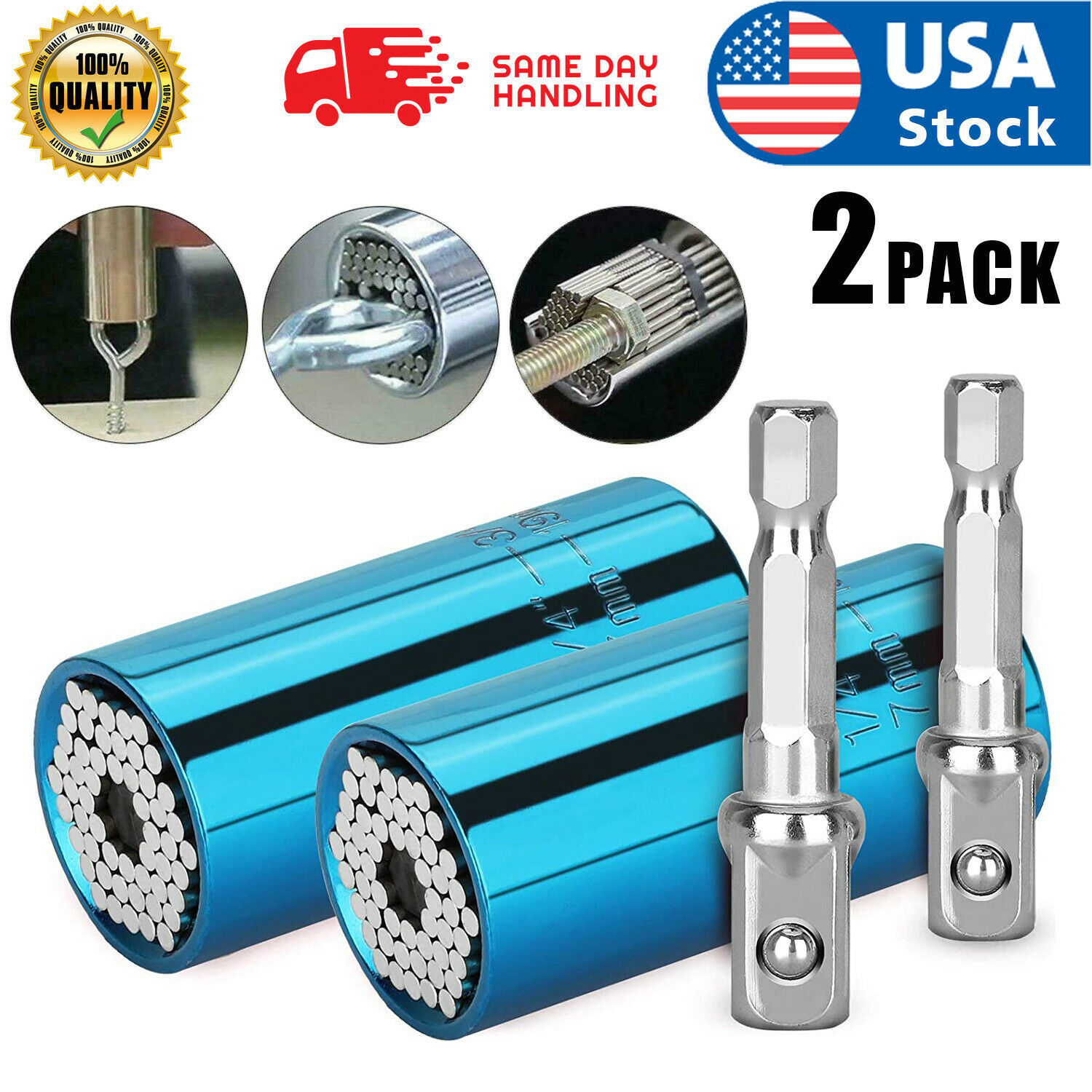 2PC Universal Socket Wrench Magical Grip Alligator Multi Tool with Drill Adapter Hand Tools