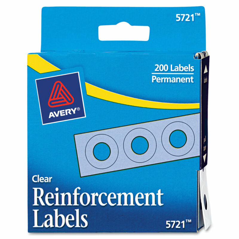 "Avery Dispenser Pack Hole Reinforcements 1/4"" Dia Clear 200/Pack 05721"