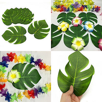 Green Jungle Tropical Beach Island Luau Polyester Leaves Table Decorations Lot