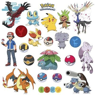 POKEMON XY 24 Wall Decals Room Decorations Pikachu Pokeball Boys Decor - Pokemon Wall Decor