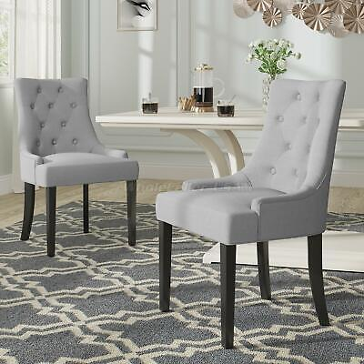 2x Light Grey Fabric Wood Leg Dining Chairs Upholstered Side Chair