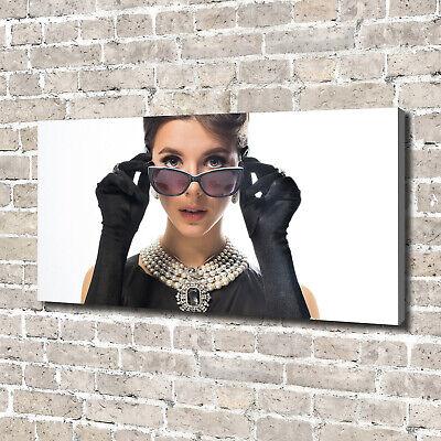 Leinwandbild Kunst-Druck 140x70 Bilder Menschen Frau mit Brille