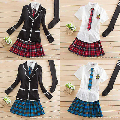 Japanese School Girl Cute Sailor Uniform Dress Full Set Cosplay Costume  (Cute School Girl Costume)