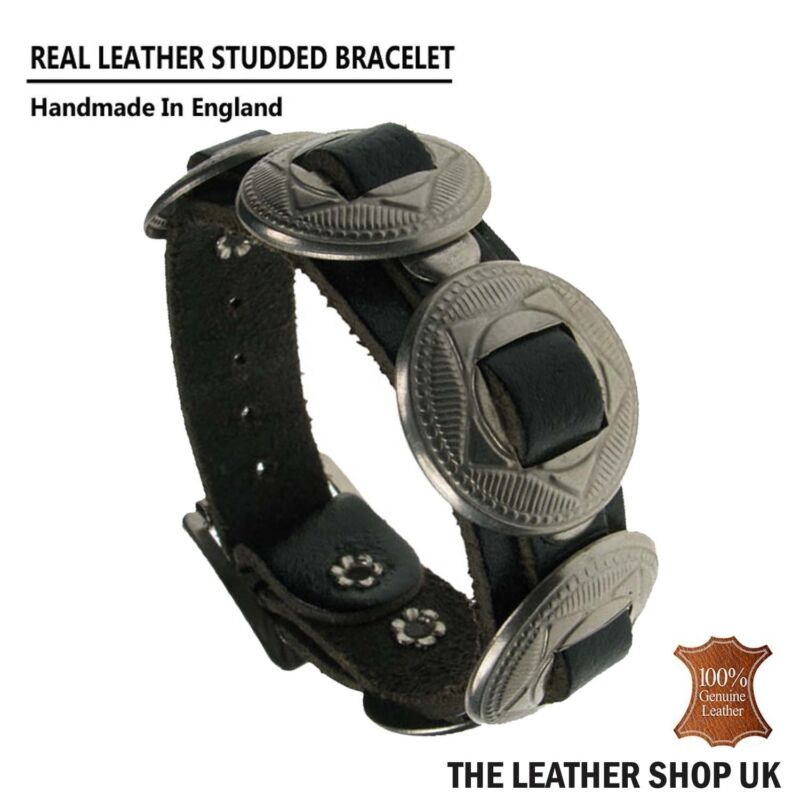 New Black Silver Mix Cone Design Studded Wristband Real Leather Handmade In UK