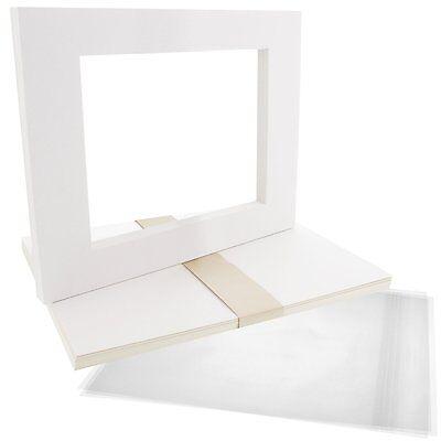 Set of 10 16x20 WHITE photo mats WhiteCore for 11x14 +Backing +Bags