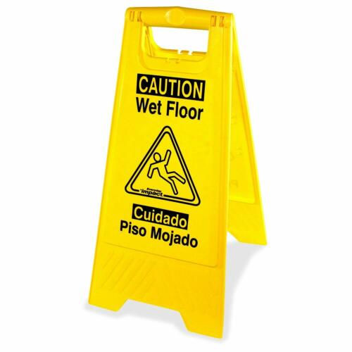 Universal Graphic Wet Floor Sign Two Sided English and Spanish