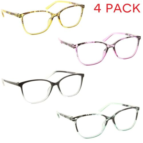 4 Pack Reading Glasses Cateye Clear Lens Spring Hinge Readers for Women