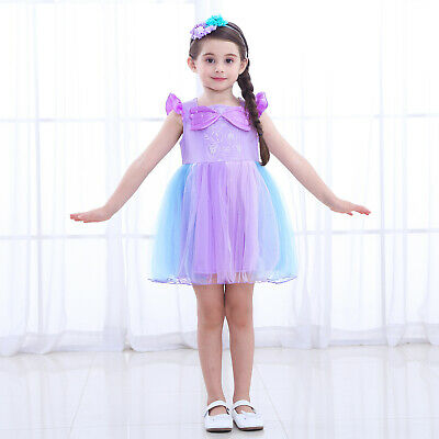 Mermaid Ariel Toddler Bady Girl Princess Tutu Dress Cosplay Party Costume ZG9