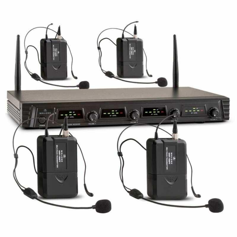Wireless Microphones Set Studio 4x Headset Mic  4-Channel UHF Radio 50m Range