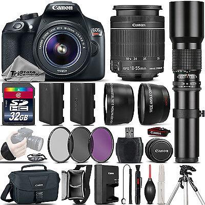 Canon Eos Rebel T6 Slr Camera 1300D   18 55Mm Is   500Mm 4 Lens Kit   32Gb Kit
